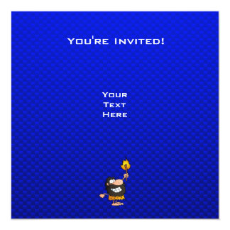 Caveman; Blue Custom Invitation