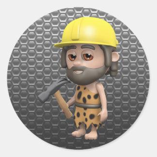 caveman-builder classic round sticker