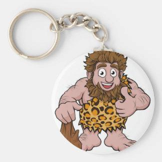 Caveman Cartoon Basic Round Button Keychain