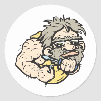 Caveman!  Customizable! Round Sticker