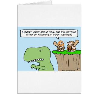 caveman dinosaur food service greeting card