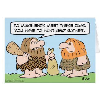 caveman ends meet hunt gather card