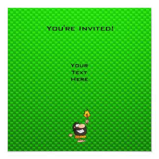 """Caveman; Green 5.25"""" Square Invitation Card"""