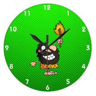 Caveman; Green Large Clock