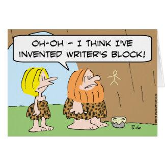 caveman invented writers block greeting card