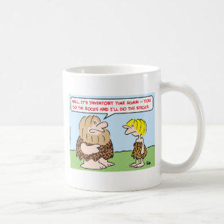 caveman inventory time rocks sticks classic white coffee mug
