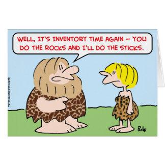 caveman inventory time rocks sticks greeting card