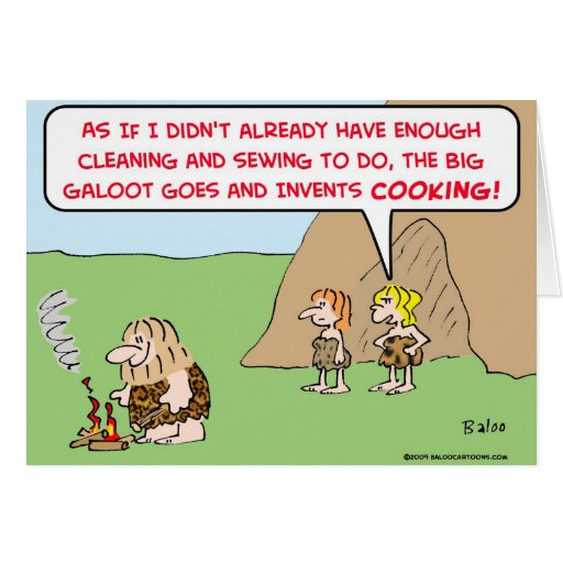 caveman invents cooking cards