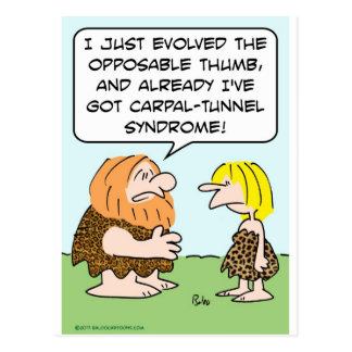 caveman opposable thumb carpal-tunnel syndrome post cards