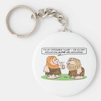 caveman opposable thumb military applications basic round button keychain