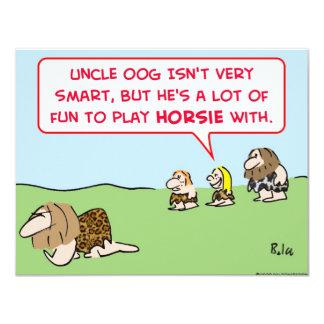 caveman play horsie invitations