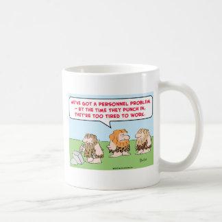 caveman punch in tired work mug