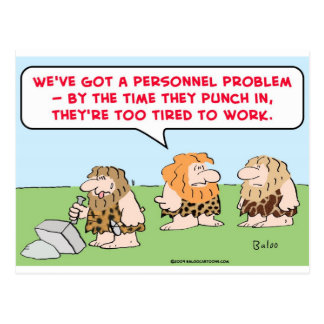 caveman punch in tired work postcard