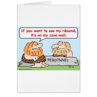 caveman resume cave wall personnel card