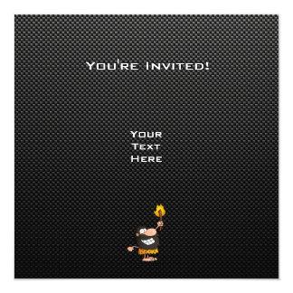 "Caveman; Sleek 5.25"" Square Invitation Card"