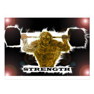 Caveman strength postcard