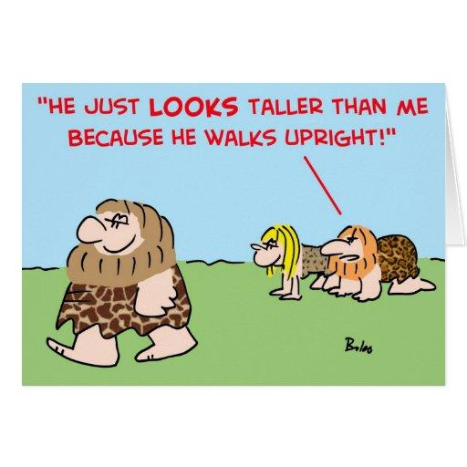 caveman taller walks upright greeting cards