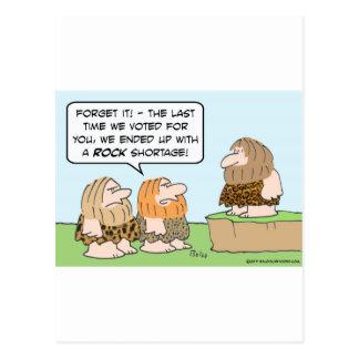 caveman voted rock shortage post cards