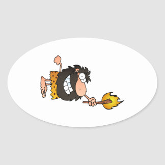 Caveman with Torch Oval Sticker