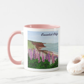 Cavendish Cliffs and Spring Lupins, PEI Mug