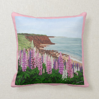 Cavendish Cliffs and Spring Lupins, PEI Pillow