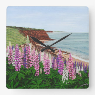 Cavendish Cliffs and Spring Lupins Wall Clock
