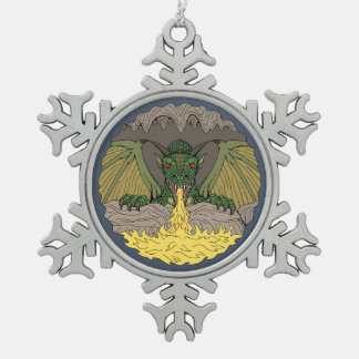 Cavern Dragon 2016 Snowflake Pewter Christmas Ornament