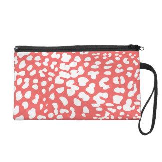 Cayenne and White Leopard Print Wristlet Bag