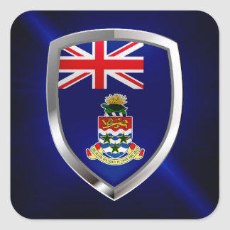 Cayman Islands Mettalic Emblem Square Sticker