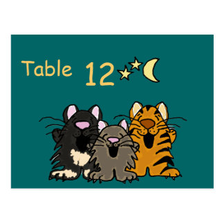 CB- Cats Singing Table Number Postcards