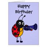 CB- Ladybug Playing Trumpet Cartoon Greeting Card