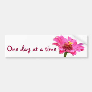 CB- One day at a time pink zinnia flower sticker