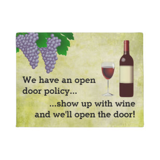 CBendel Funny Wine Lovers Open Door Policy Doormat
