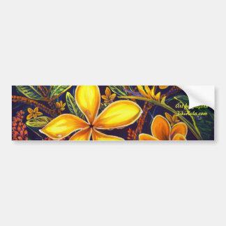 CBjork Yellow Island Plumeria Art Bumper Sticker