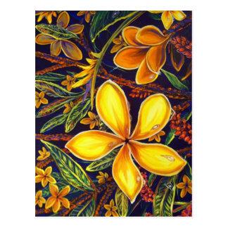 CBjork Yellow Island Plumeria Art Postcard
