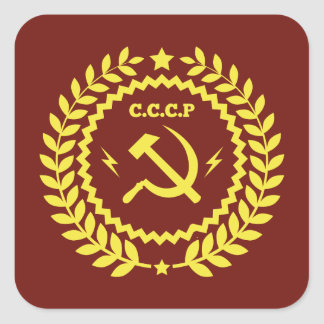 CCCP Hamer & Sickle Emblem Square Stickers