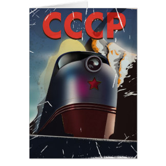 CCCP Retro vintage Soviet train Poster Card