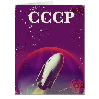 CCCP Soviet space race travel poster Card