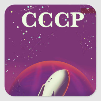 CCCP Soviet space race travel poster Square Sticker