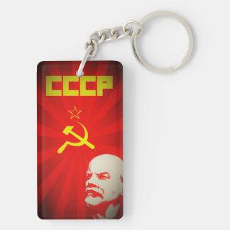cccp soviet union communist red lenin russia propa Double-Sided rectangular acrylic keychain