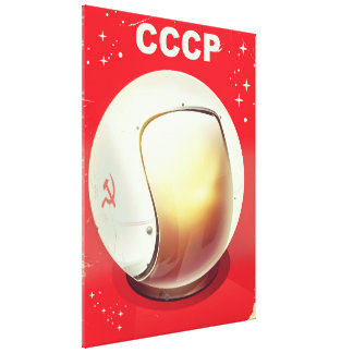 CCCP vintage red Soviet Space poster Canvas Print