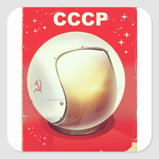 CCCP vintage red Soviet Space poster Square Sticker