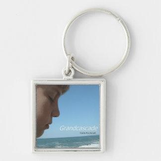 """CD Cover Art """"Grandcascade"""" Silver-Colored Square Keychain"""