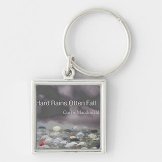 """CD Cover Art """"Hard Rains Often Fall"""" Silver-Colored Square Keychain"""