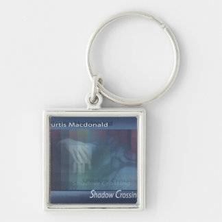 """CD Cover Art """"Shadow Crossing"""" Silver-Colored Square Keychain"""