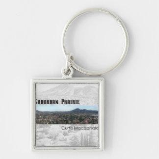 "CD Cover Art ""Suburban Prairie"" Silver-Colored Square Keychain"