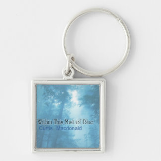 """CD Cover Art """"Within This Mist of Blue"""" Silver-Colored Square Keychain"""