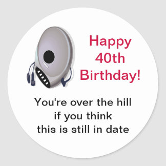 Cd Player Over The Hill 40th Birthday Sticker
