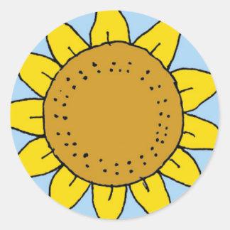 CE- Sunflower Round Stickers