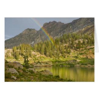 Cecret Lake with rainbow over Devil's Castle, Card